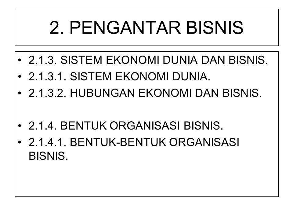 2. PENGANTAR BISNIS 2.1.3. SISTEM EKONOMI DUNIA DAN BISNIS.