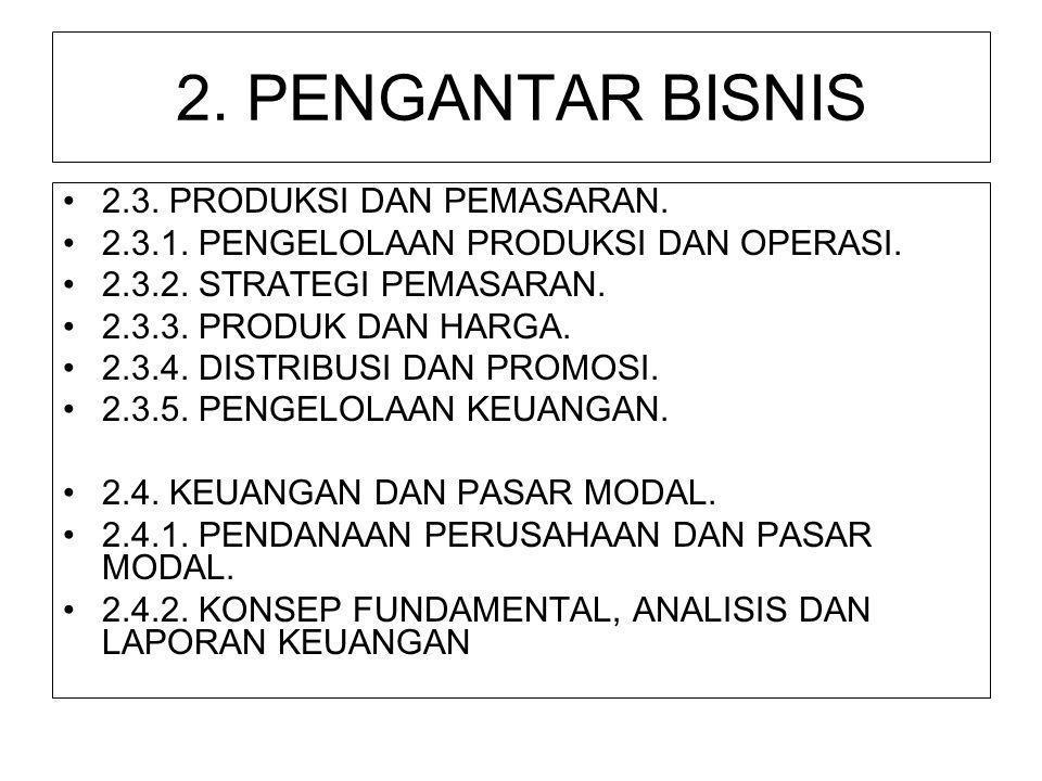 2. PENGANTAR BISNIS 2.3. PRODUKSI DAN PEMASARAN.