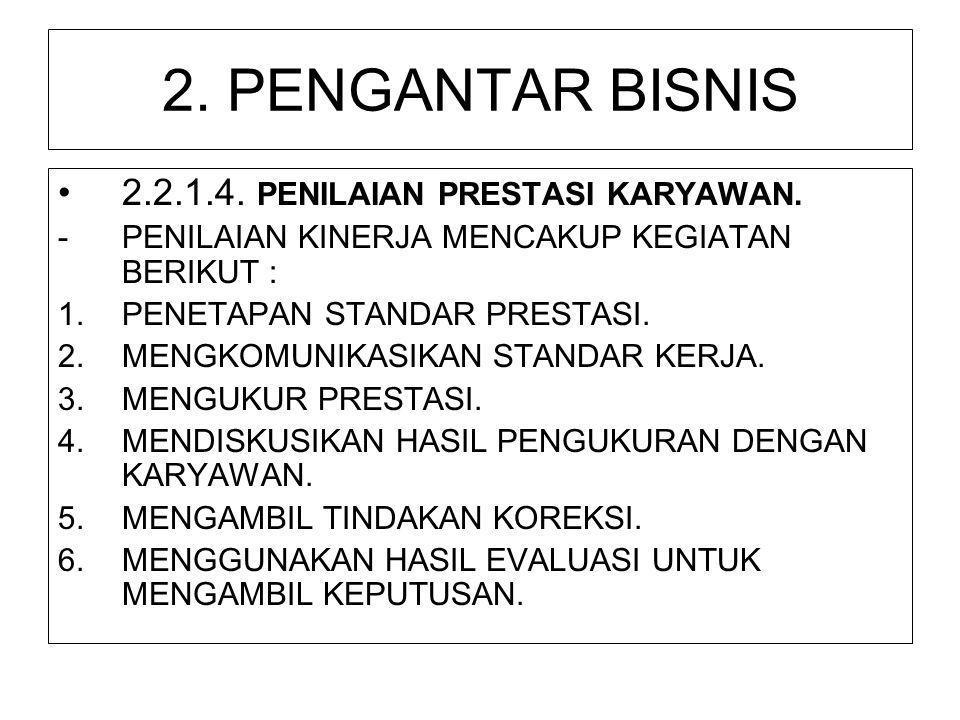 2. PENGANTAR BISNIS 2.2.1.4. PENILAIAN PRESTASI KARYAWAN.