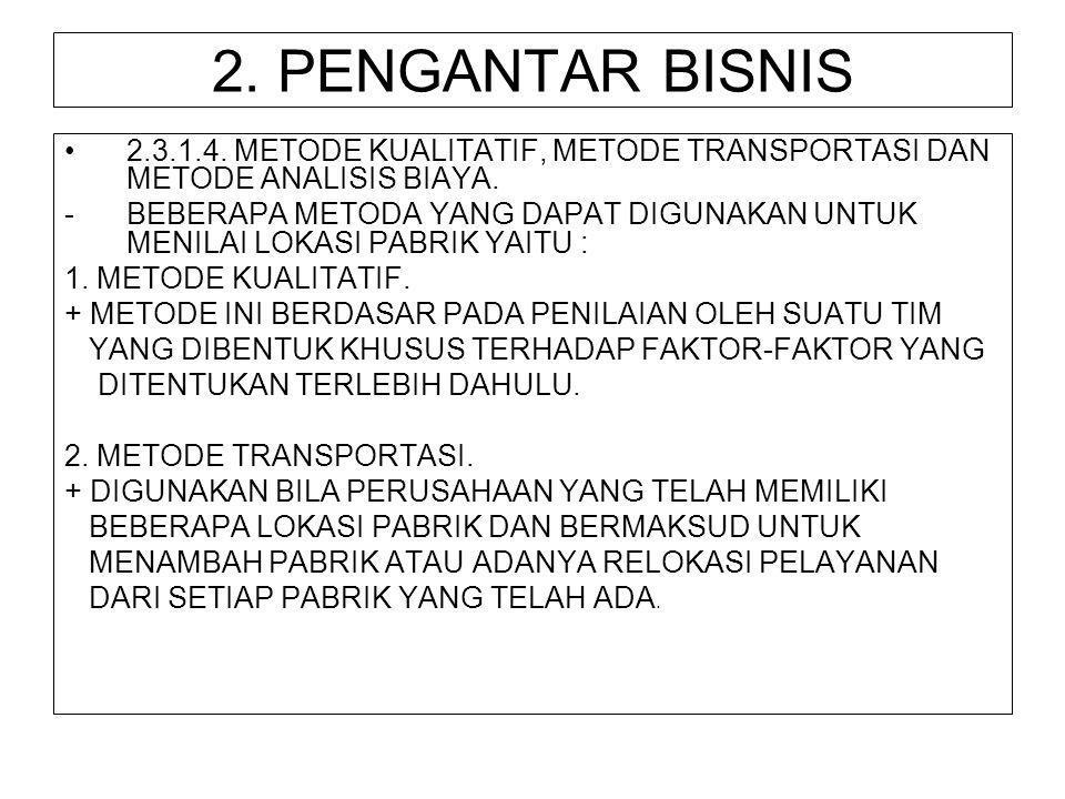 2. PENGANTAR BISNIS 2.3.1.4. METODE KUALITATIF, METODE TRANSPORTASI DAN METODE ANALISIS BIAYA.