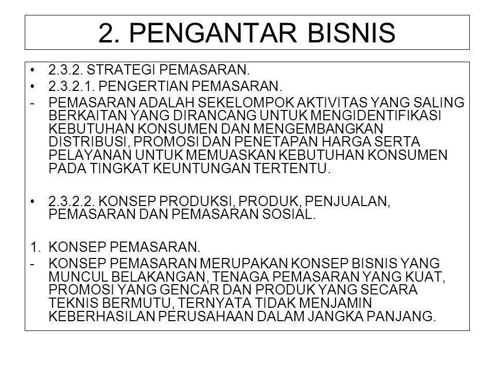 2. PENGANTAR BISNIS 2.3.2. STRATEGI PEMASARAN.