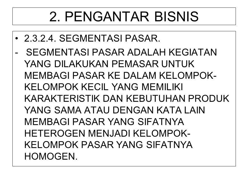 2. PENGANTAR BISNIS 2.3.2.4. SEGMENTASI PASAR.