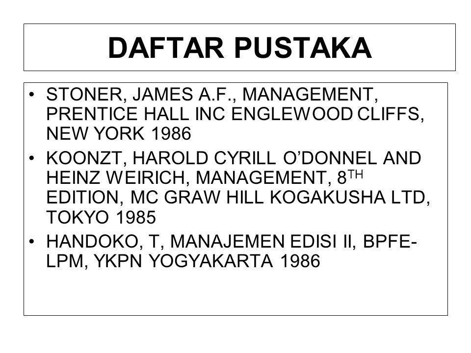 DAFTAR PUSTAKA STONER, JAMES A.F., MANAGEMENT, PRENTICE HALL INC ENGLEWOOD CLIFFS, NEW YORK 1986.