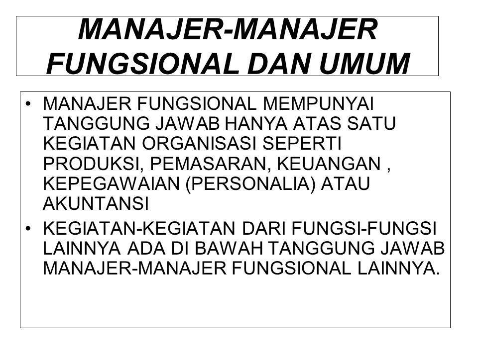 MANAJER-MANAJER FUNGSIONAL DAN UMUM