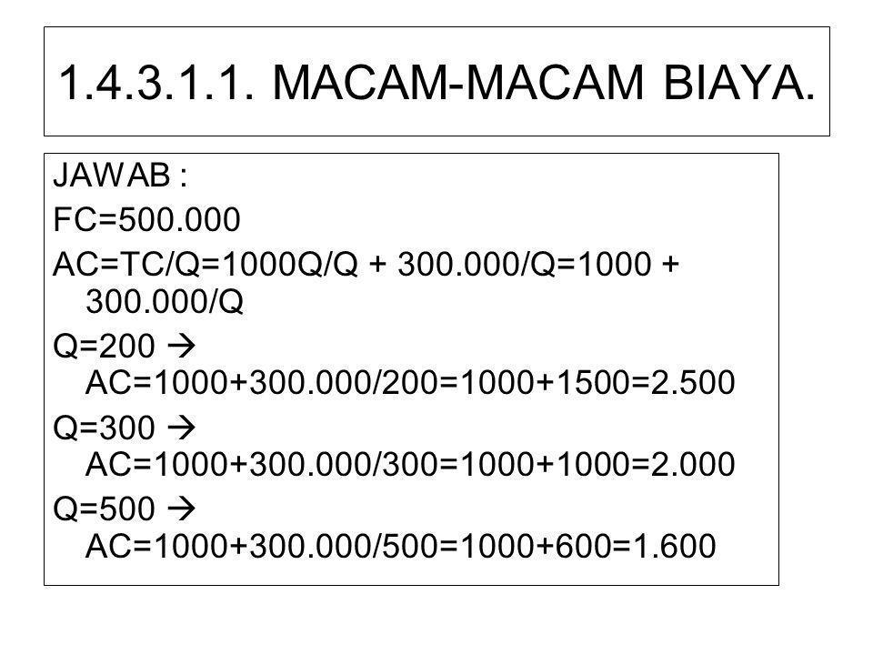 1.4.3.1.1. MACAM-MACAM BIAYA. JAWAB : FC=500.000
