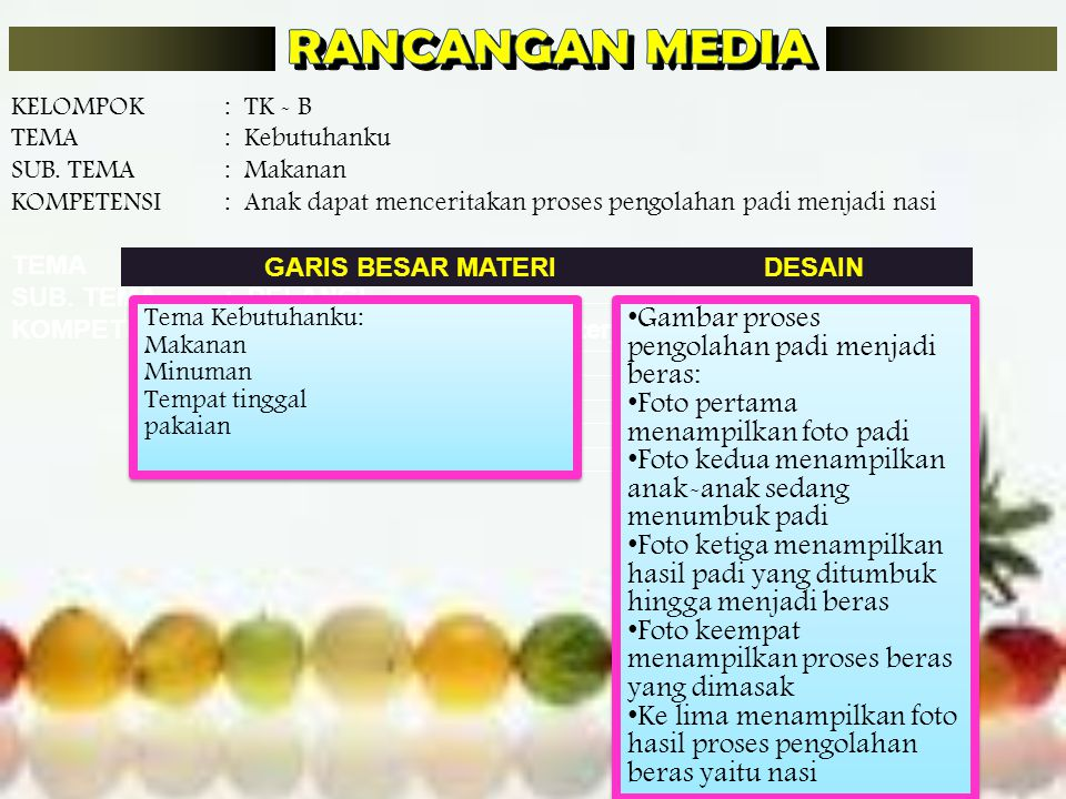 RANCANGAN MEDIA Gambar proses pengolahan padi menjadi beras: