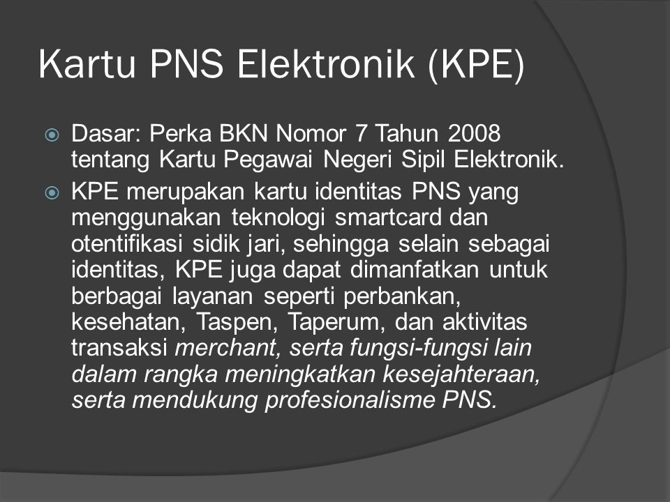 Kartu PNS Elektronik (KPE)