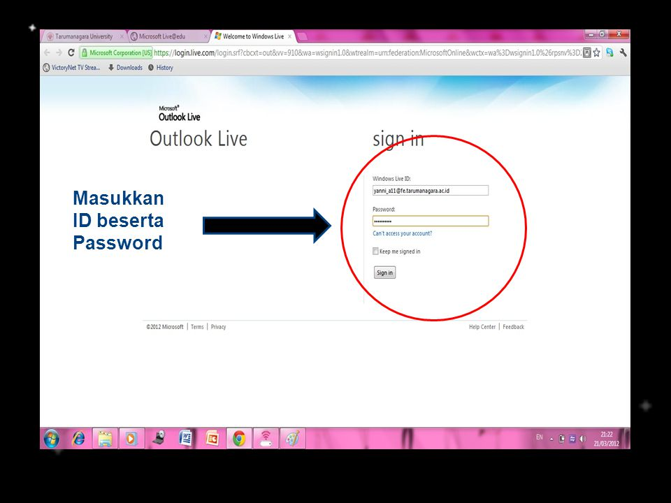 Masukkan ID beserta Password