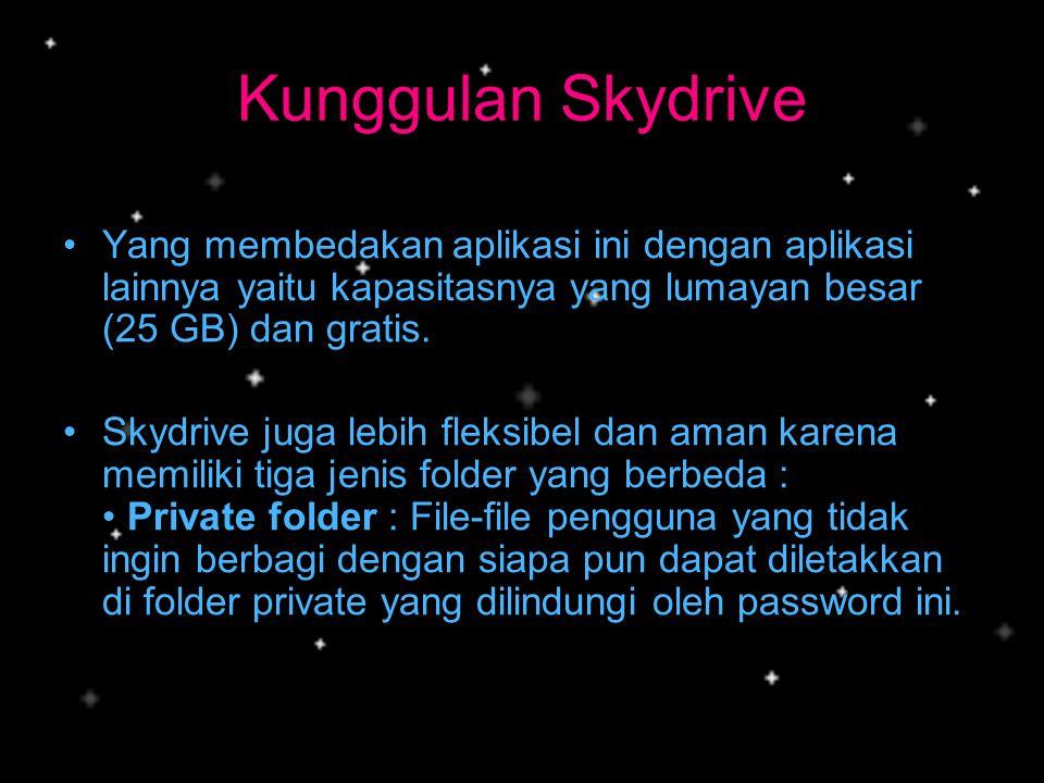 Kunggulan Skydrive Yang membedakan aplikasi ini dengan aplikasi lainnya yaitu kapasitasnya yang lumayan besar (25 GB) dan gratis.