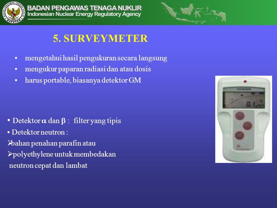 5. SURVEYMETER Detektor  dan  : filter yang tipis
