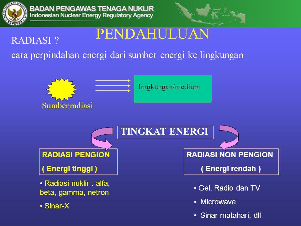 PENDAHULUAN RADIASI cara perpindahan energi dari sumber energi ke lingkungan. lingkungan/medium.