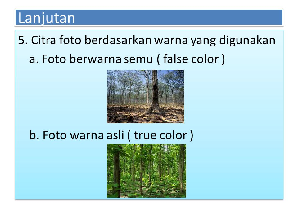 Lanjutan 5. Citra foto berdasarkan warna yang digunakan a.