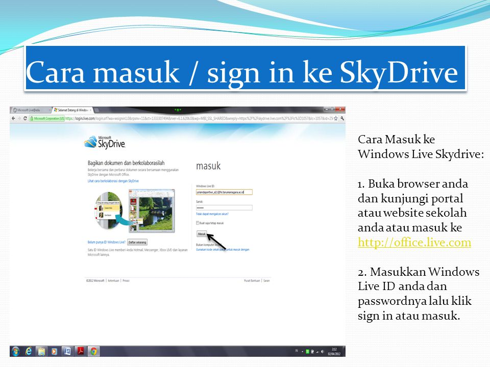 Cara masuk / sign in ke SkyDrive