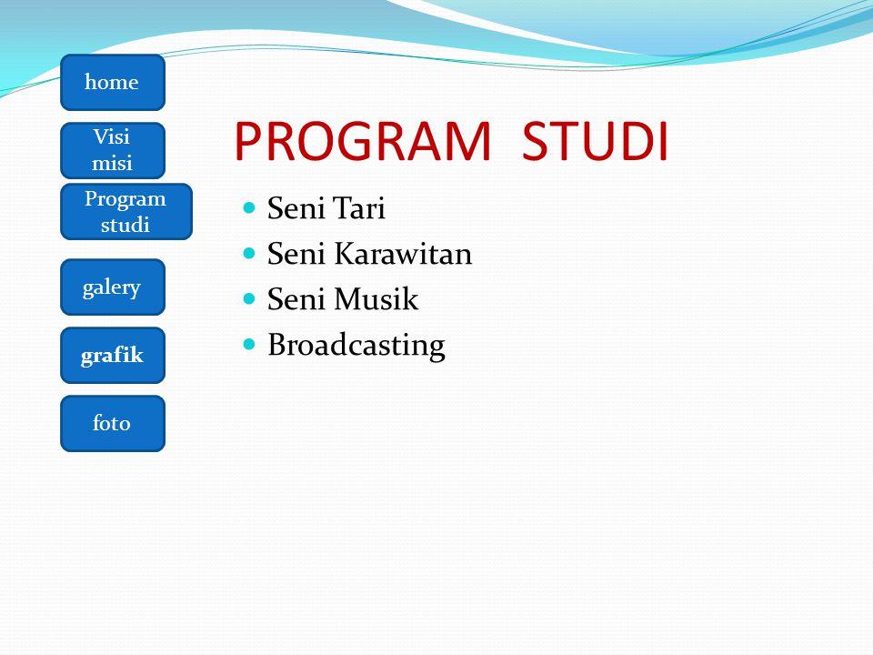 PROGRAM STUDI Seni Tari Seni Karawitan Seni Musik Broadcasting