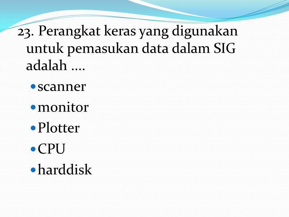 23. Perangkat keras yang digunakan untuk pemasukan data dalam SIG adalah ....