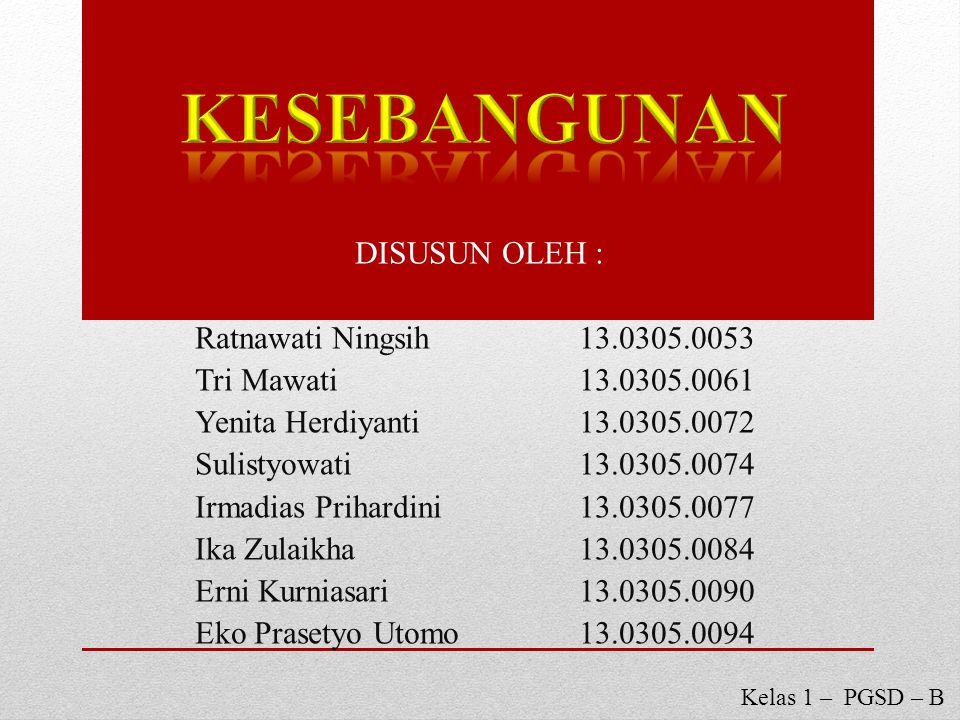 KESEBANGUNAN DISUSUN OLEH : Ratnawati Ningsih 13.0305.0053
