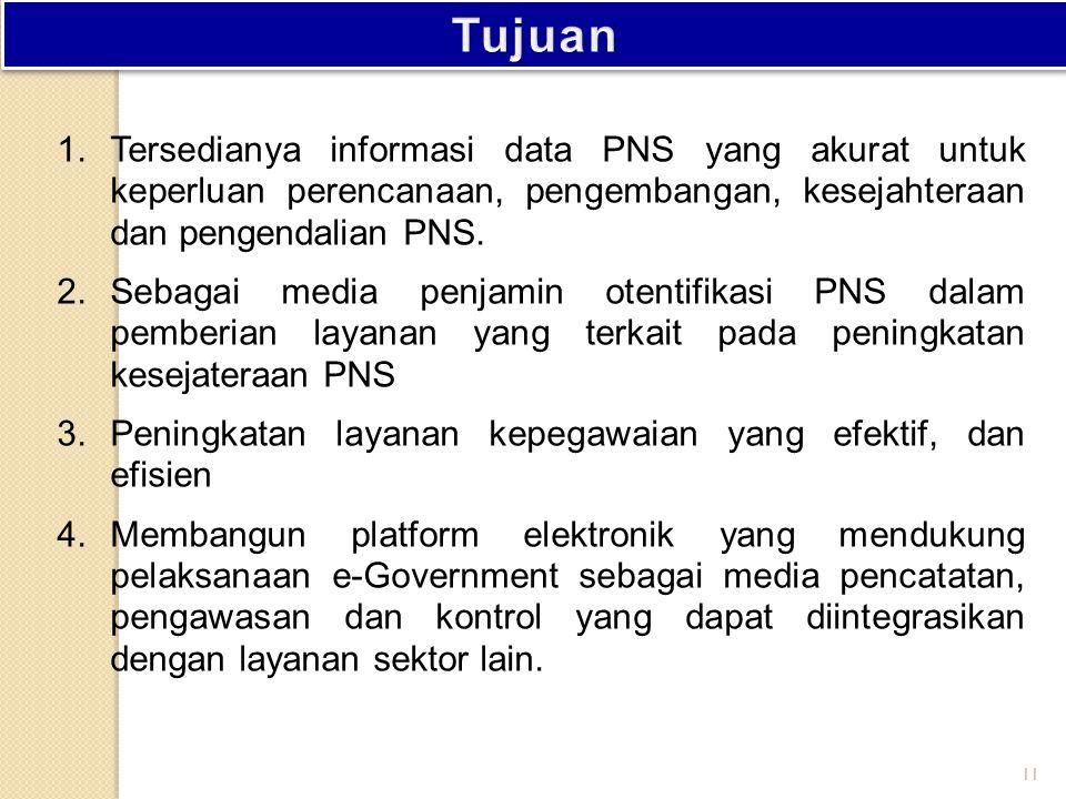 Tujuan Tersedianya informasi data PNS yang akurat untuk keperluan perencanaan, pengembangan, kesejahteraan dan pengendalian PNS.