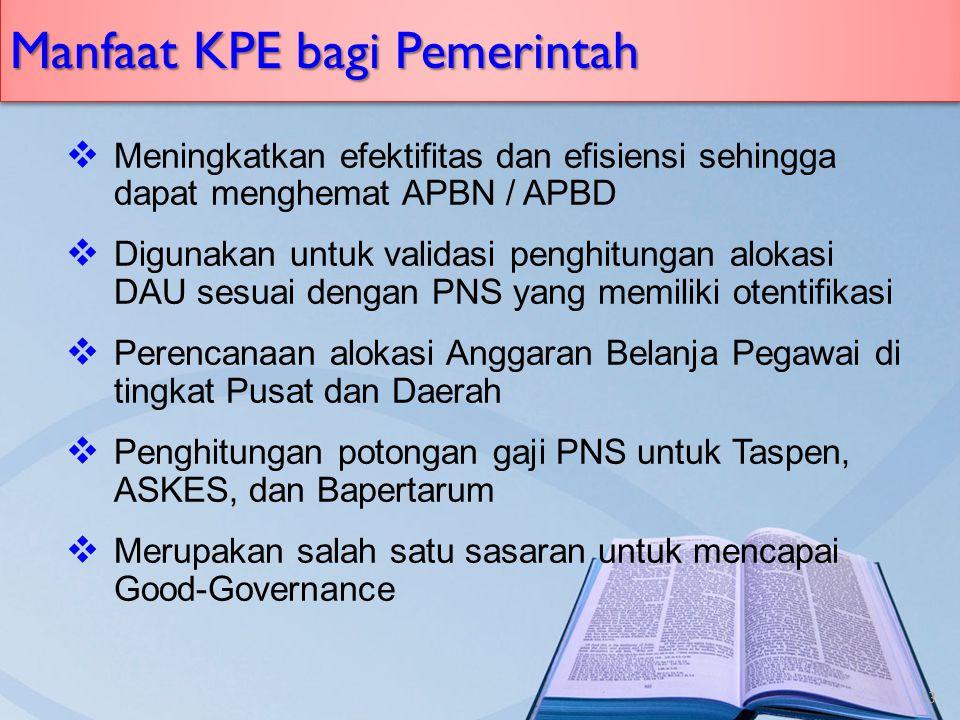 Manfaat KPE bagi Pemerintah