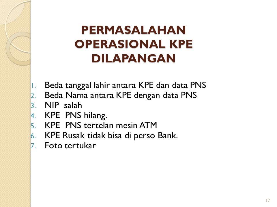 PERMASALAHAN OPERASIONAL KPE DILAPANGAN