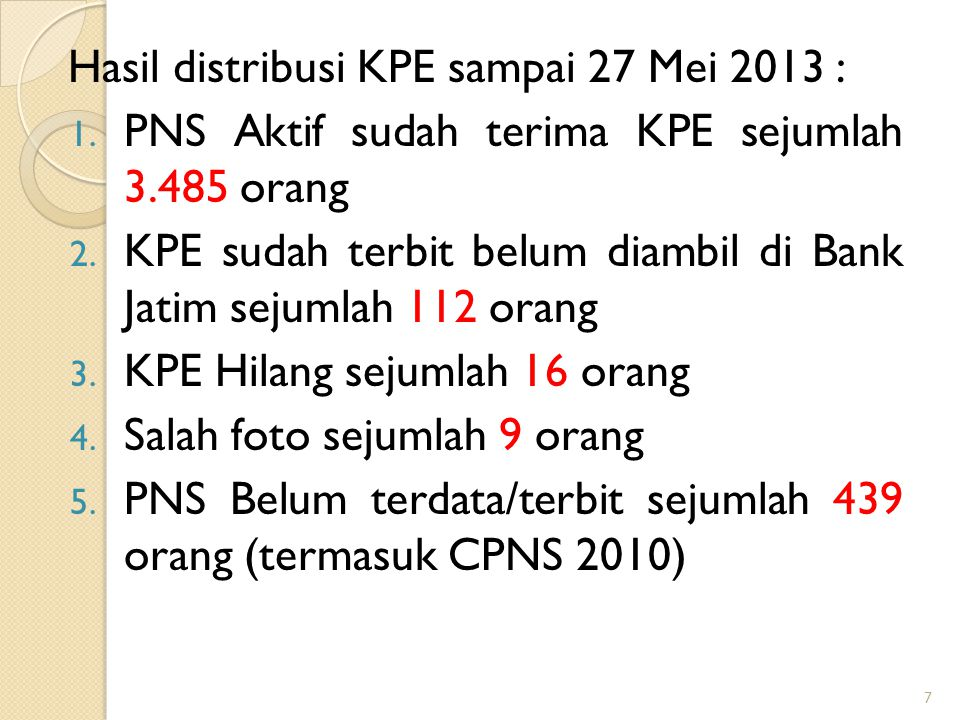Hasil distribusi KPE sampai 27 Mei 2013 :