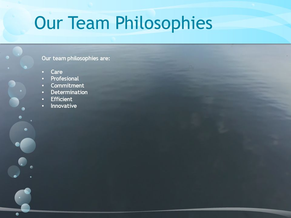 Our Team Philosophies Our team philosophies are: Care Profesional