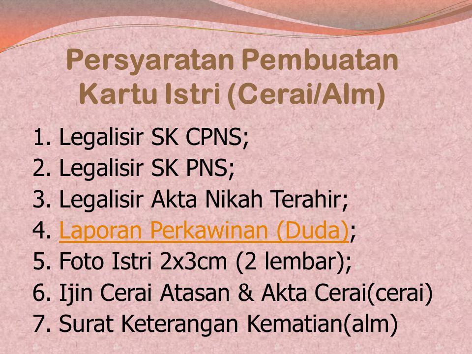 Persyaratan Pembuatan Kartu Istri (Cerai/Alm)