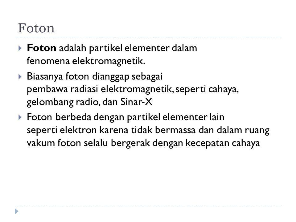 Foton Foton adalah partikel elementer dalam fenomena elektromagnetik.