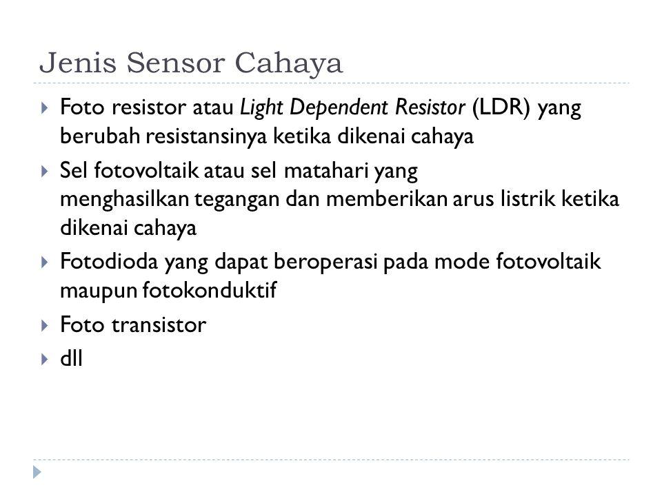 Jenis Sensor Cahaya Foto resistor atau Light Dependent Resistor (LDR) yang berubah resistansinya ketika dikenai cahaya.