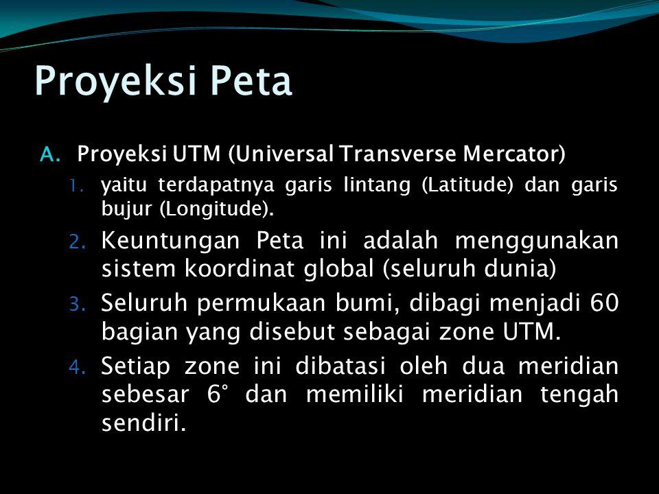 Proyeksi Peta Proyeksi UTM (Universal Transverse Mercator) yaitu terdapatnya garis lintang (Latitude) dan garis bujur (Longitude).