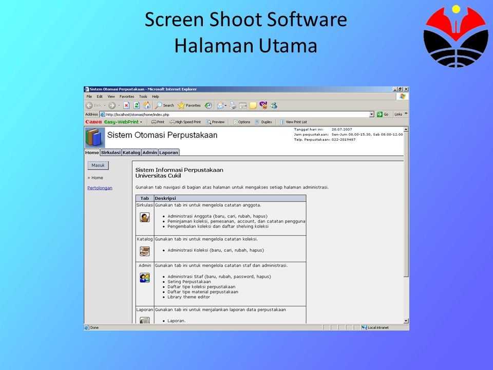 Screen Shoot Software Halaman Utama