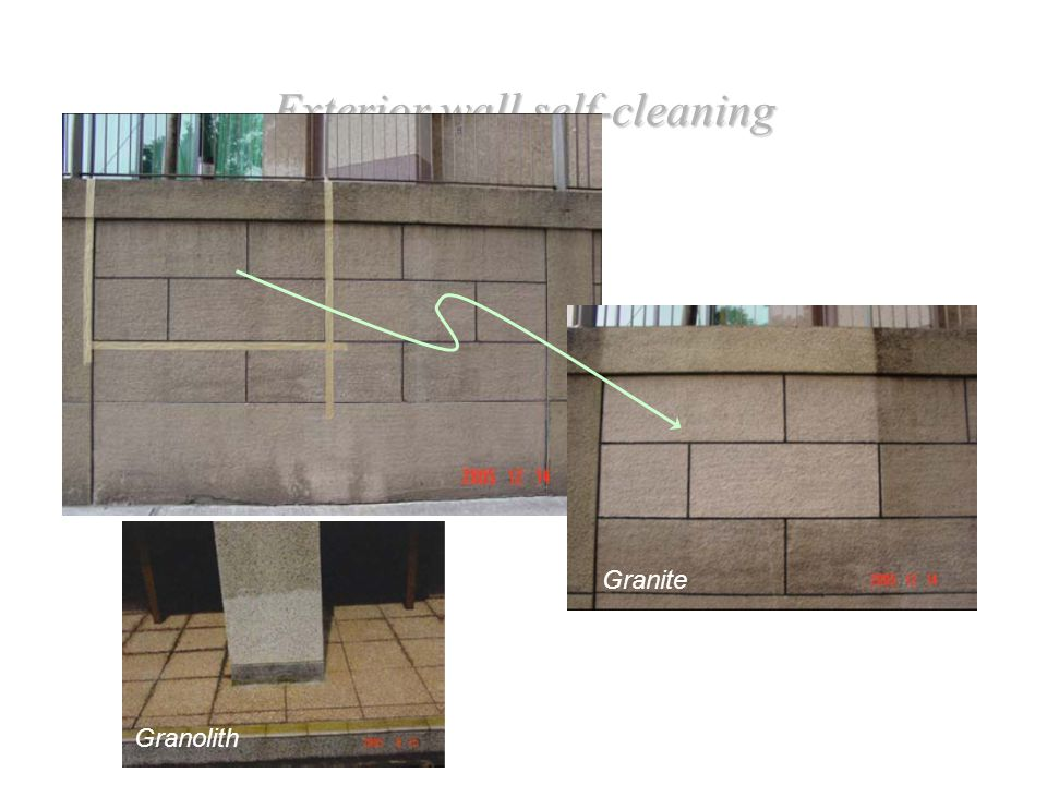 Exterior wall self-cleaning