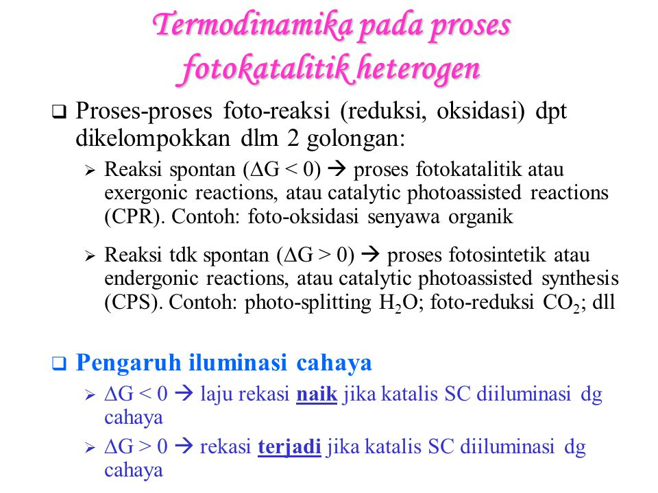 Termodinamika pada proses fotokatalitik heterogen