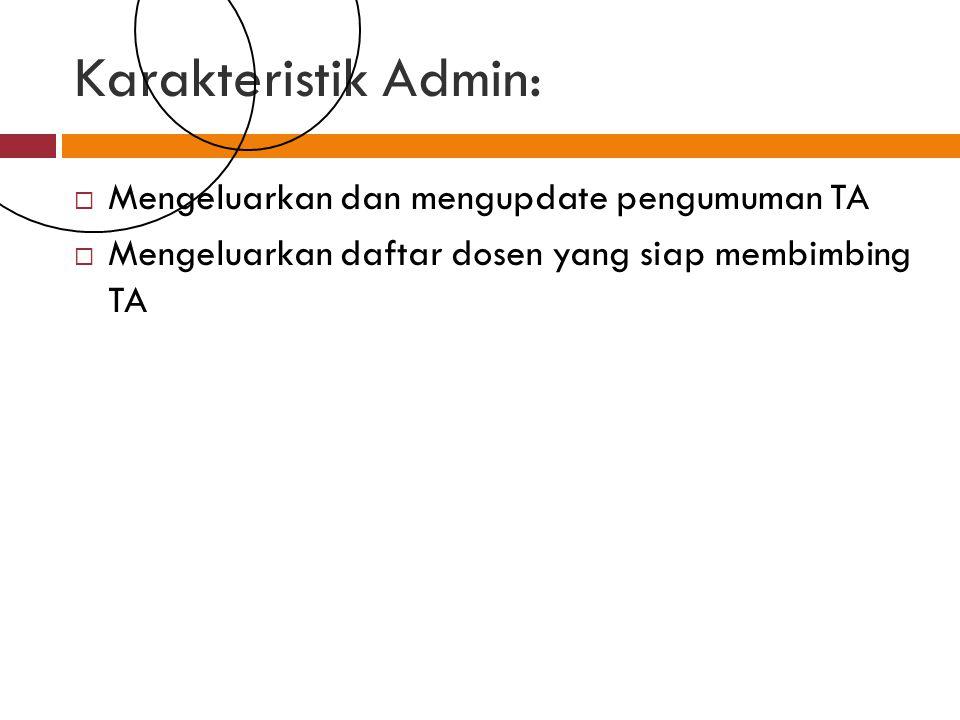 Karakteristik Admin: Mengeluarkan dan mengupdate pengumuman TA