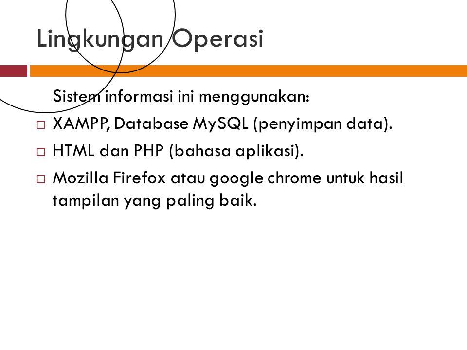 Lingkungan Operasi Sistem informasi ini menggunakan: