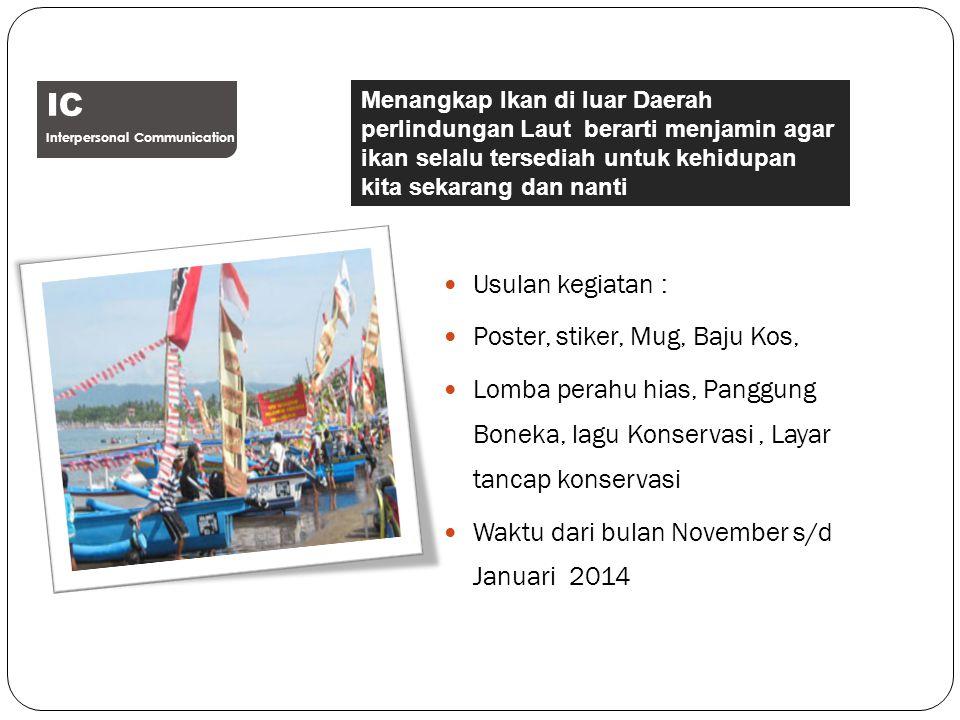 IC Usulan kegiatan : Poster, stiker, Mug, Baju Kos,