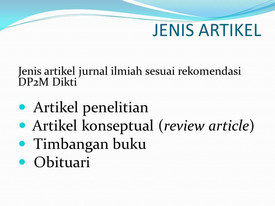 JENIS ARTIKEL Artikel penelitian Artikel konseptual (review article)