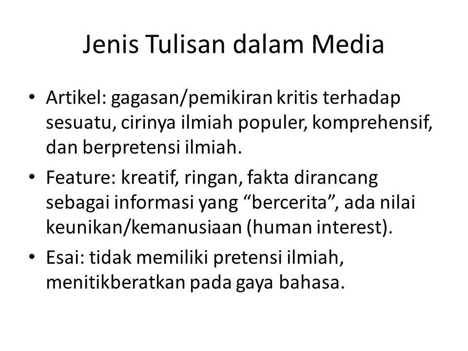 Jenis Tulisan dalam Media