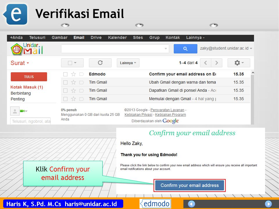 Klik Confirm your email address