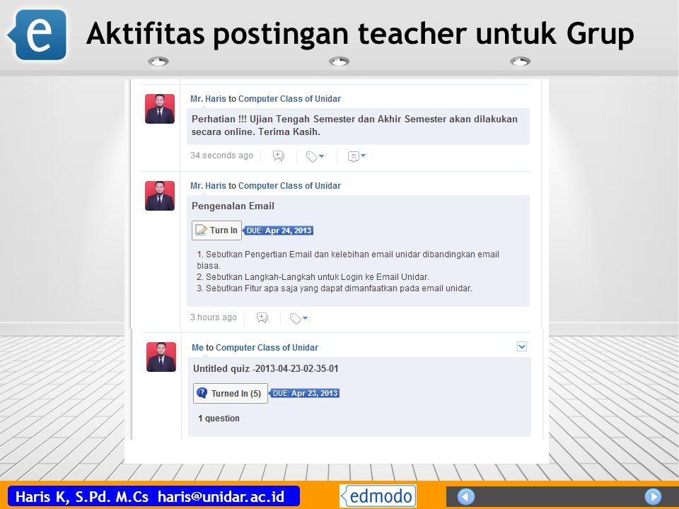 Aktifitas postingan teacher untuk Grup