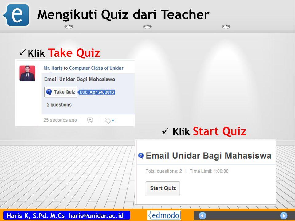 Mengikuti Quiz dari Teacher
