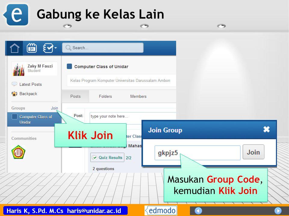 Masukan Group Code, kemudian Klik Join