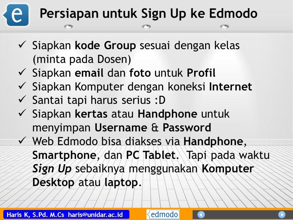 Persiapan untuk Sign Up ke Edmodo