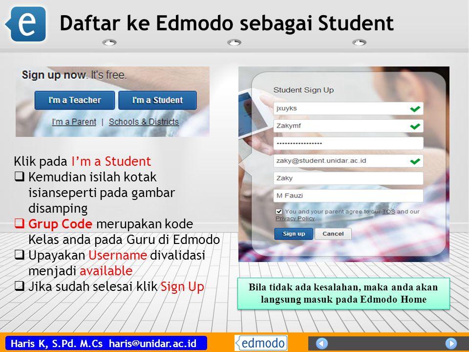 Daftar ke Edmodo sebagai Student