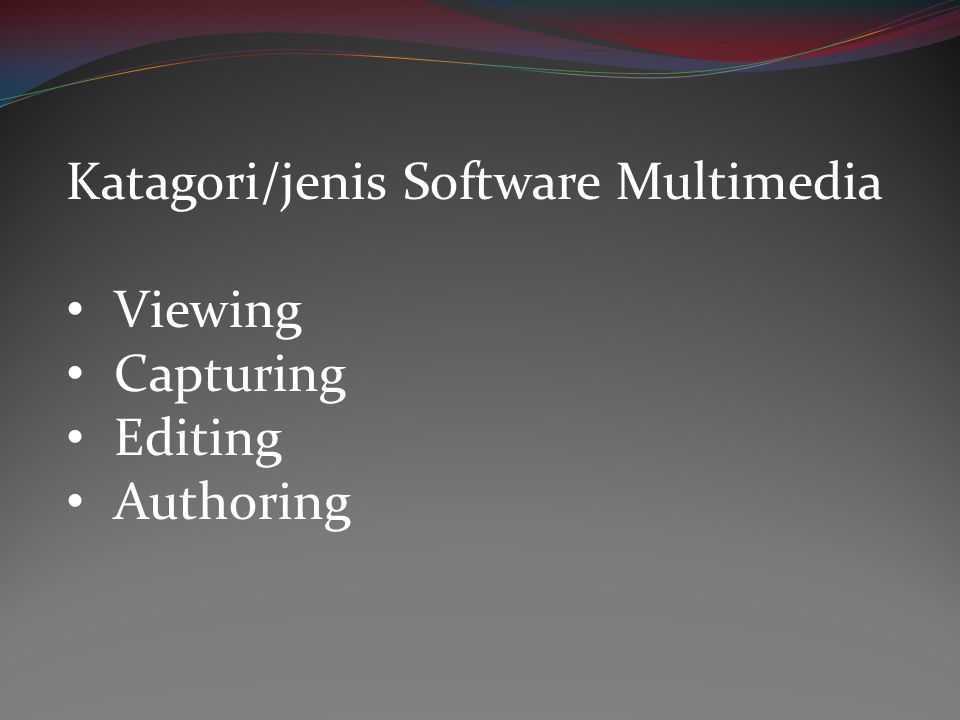 Katagori/jenis Software Multimedia