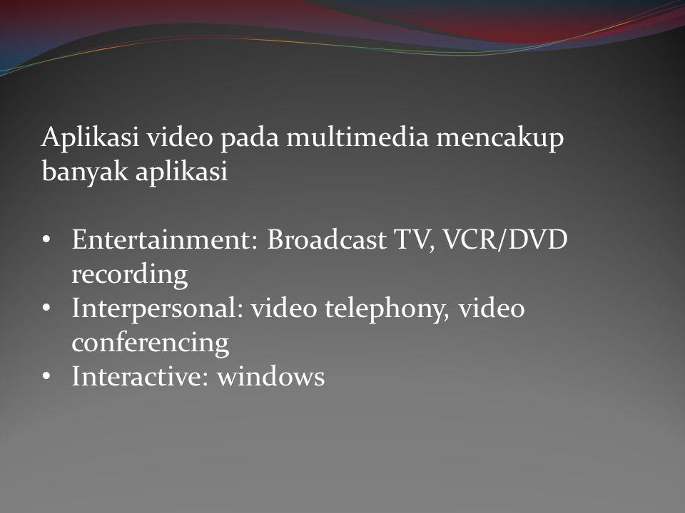 Aplikasi video pada multimedia mencakup banyak aplikasi