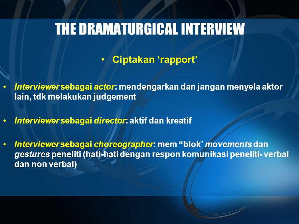 THE DRAMATURGICAL INTERVIEW