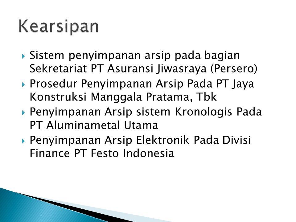 Kearsipan Sistem penyimpanan arsip pada bagian Sekretariat PT Asuransi Jiwasraya (Persero)