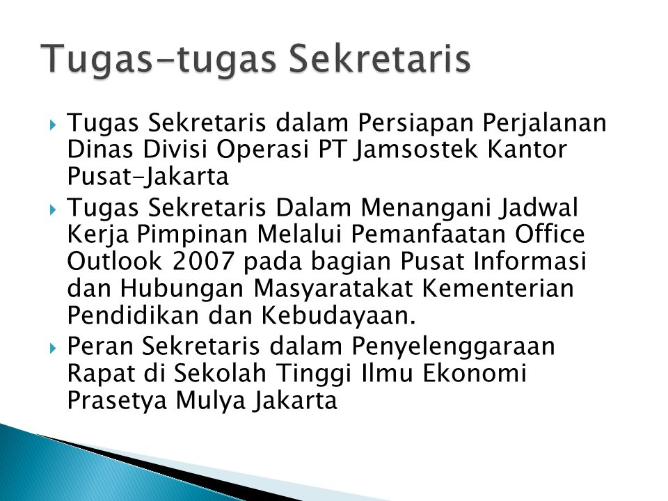 Tugas-tugas Sekretaris