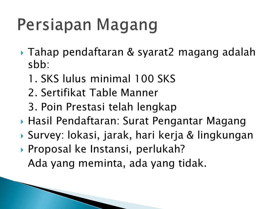 Persiapan Magang Tahap pendaftaran & syarat2 magang adalah sbb: