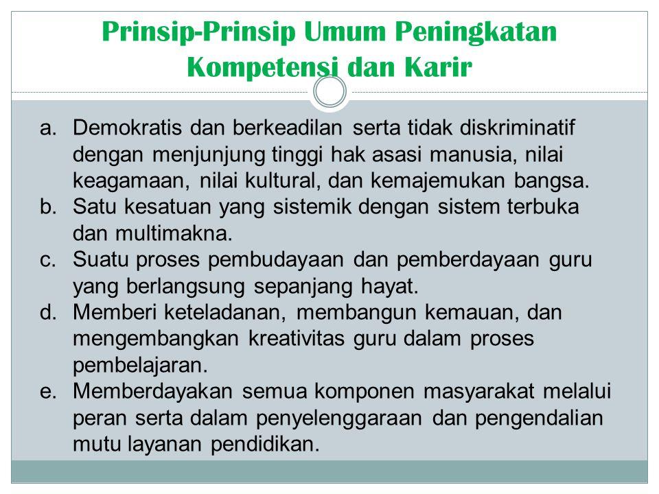 Prinsip-Prinsip Umum Peningkatan Kompetensi dan Karir